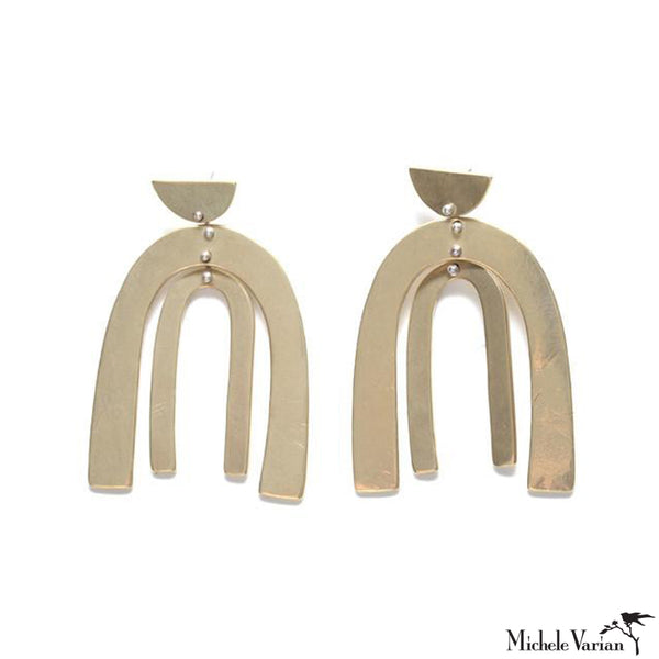 Large Brass Double Arch Stud Earrings