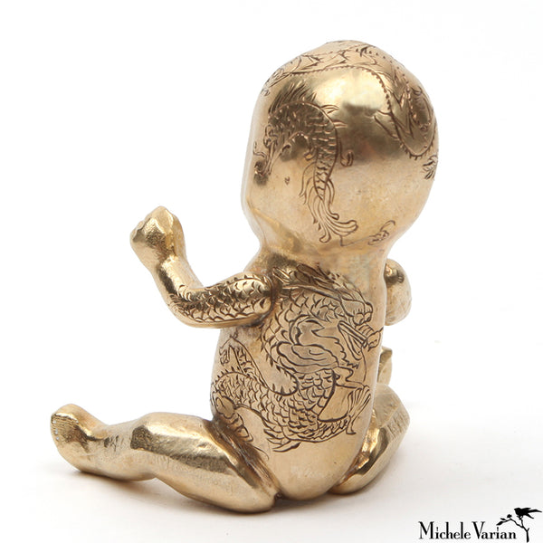 Cast Brass Baby With Dragon Tattoo