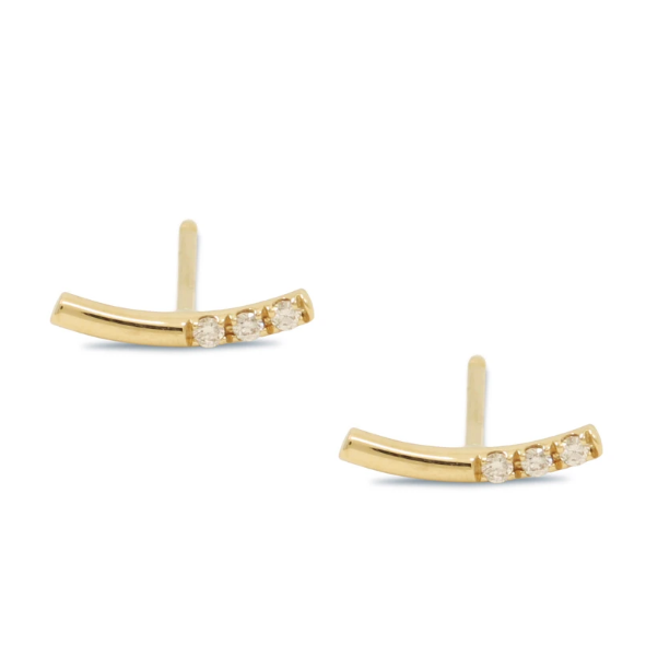 Balance Bar White Diamond Stud Earrings