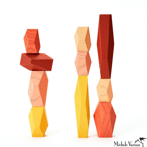 Desert Pinks Wood Balancing Blocks