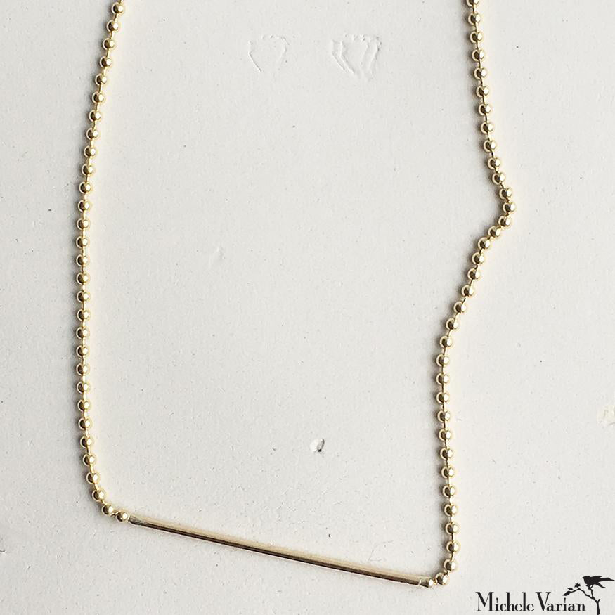 Ball Chain Gold Bar Necklace