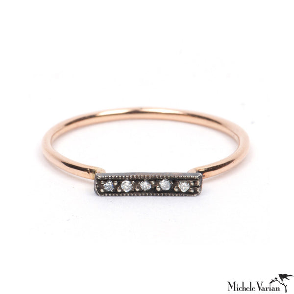 Rose Gold Bar Ring with Diamonds