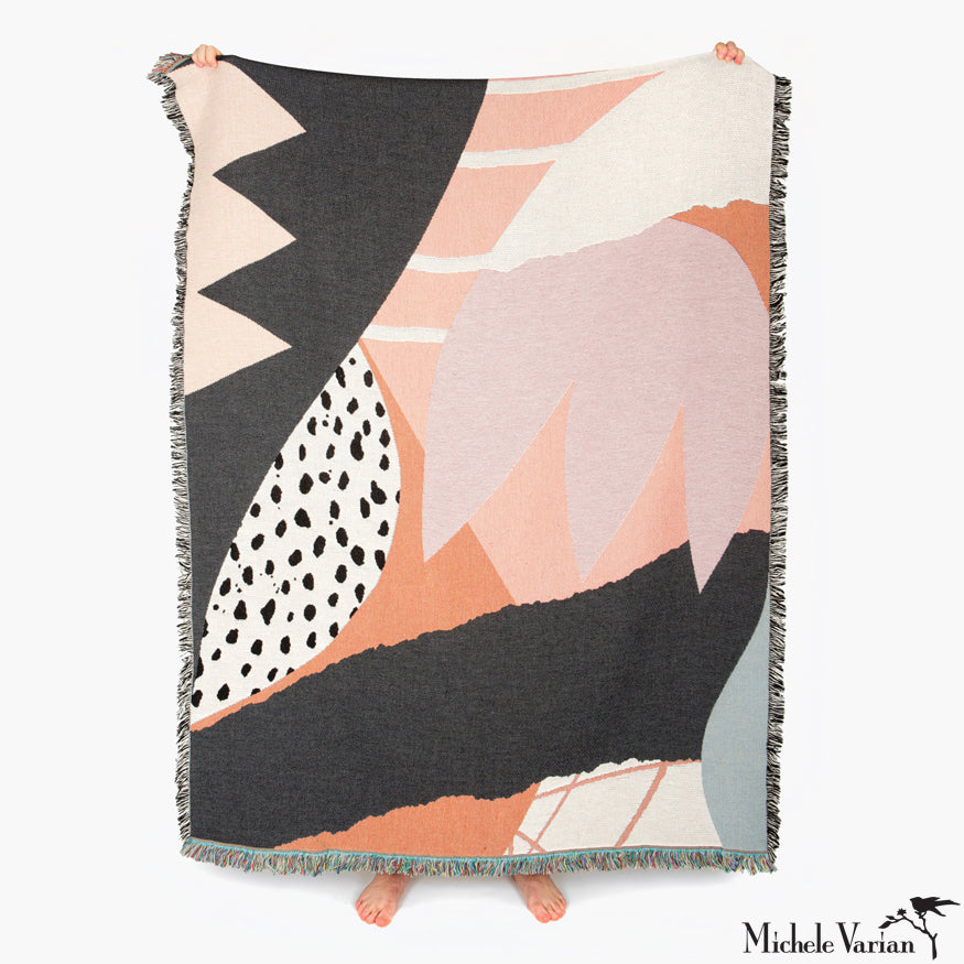 Abstract Peach Patterned Blanket