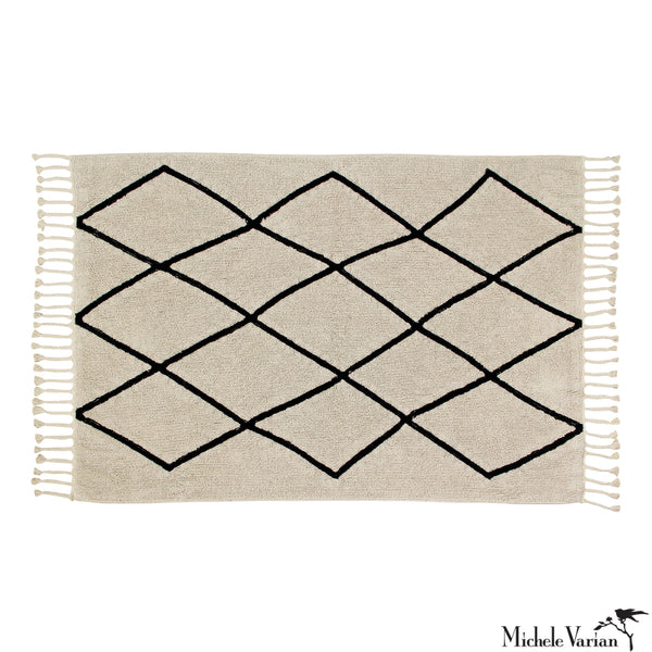 Beige and Black Criss-Cross Area Washable Rug 4.75 x 6.5 feet