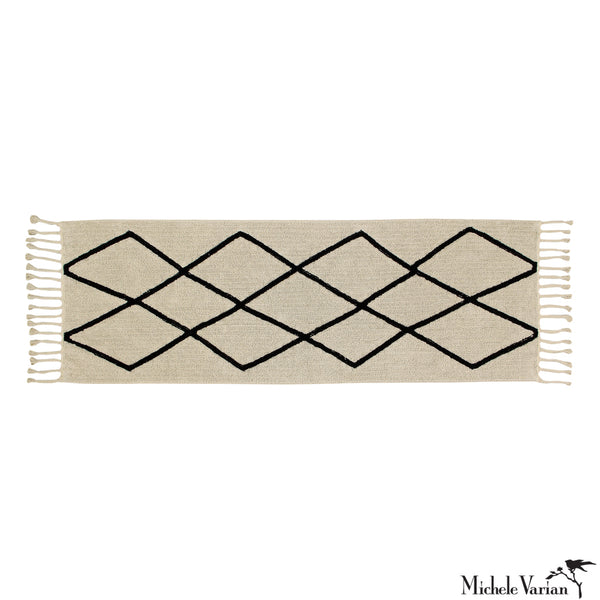 Beige and Black Criss-Cross Washable Runner
