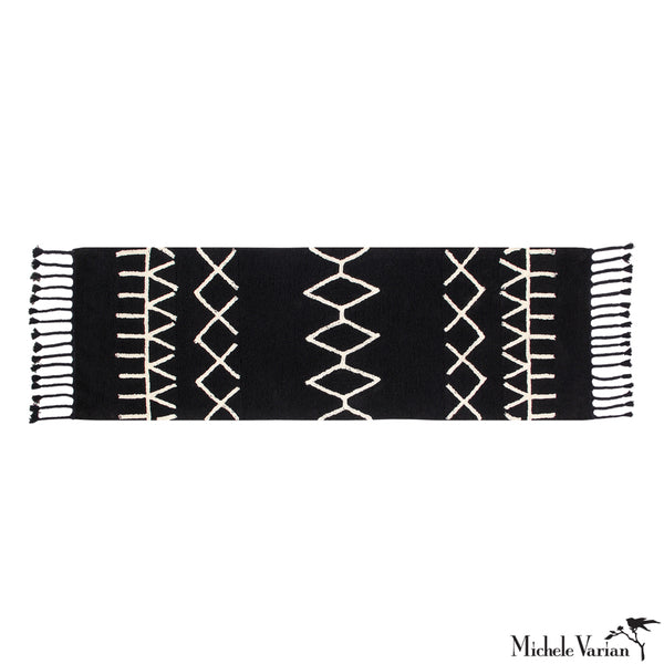 Black and Beige Patterned Runner Washable Rug