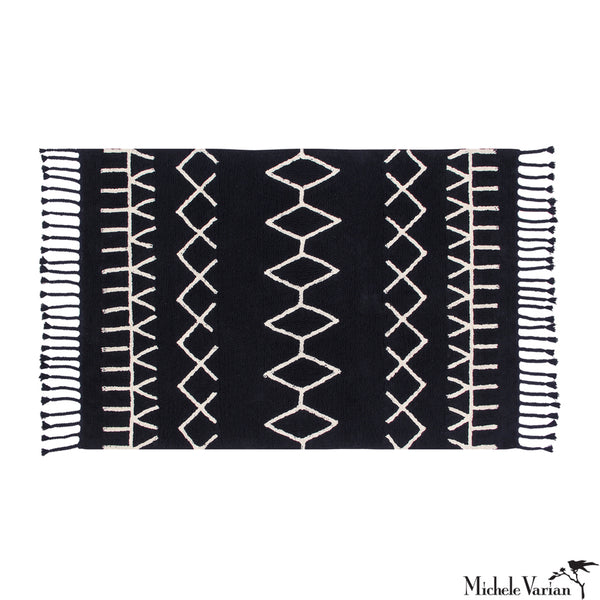 Black and Beige Patterned Washable Area Rug