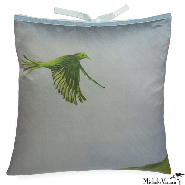 Silk Print Pillow Bird Land 20x20