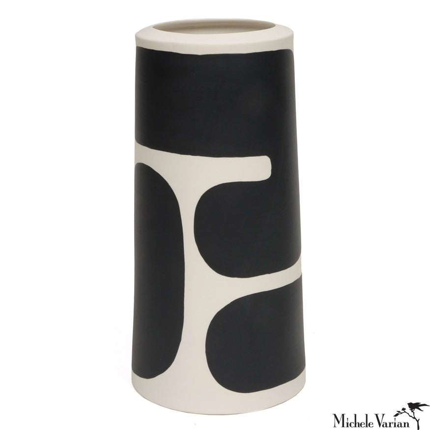 Pattern Block Black and White Pillar Vase