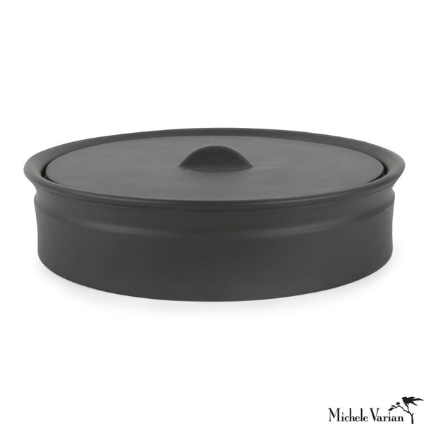 Matte Black Lidded Low Crock