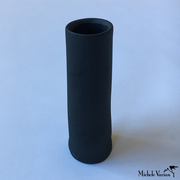 Japanese Black Cylinder Ceramic Vase