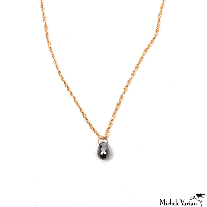 Black Diamond Briolette Rose Gold  Necklace
