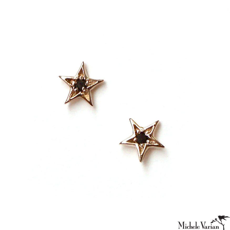 Teeny Black Diamond Star Gold Stud Earrings
