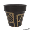 Hand Painted Planter Black and Gold