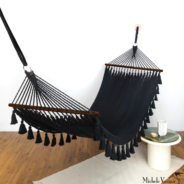 Hammock with Tassel Skirt and Dark Wood Rods