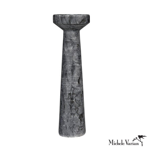 Black Marble Candle Holder Tall