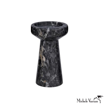 Black Marble Candle Holder Short