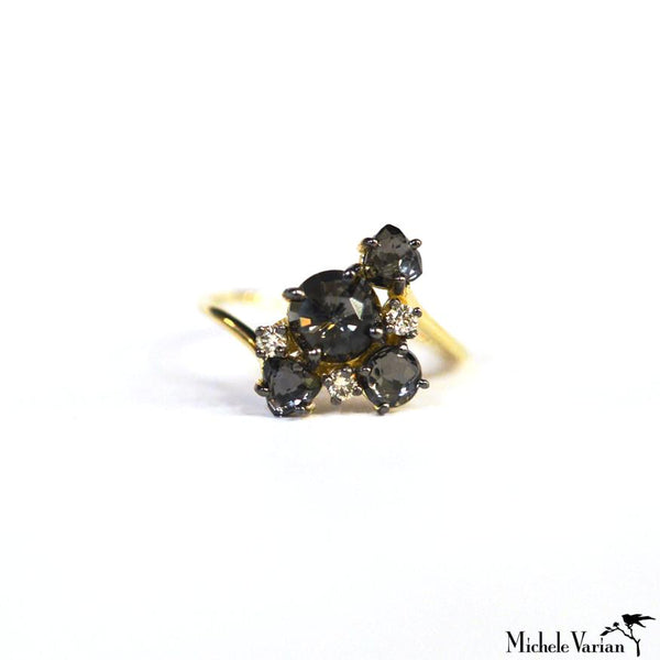 Black Night Cluster Quartz Ring
