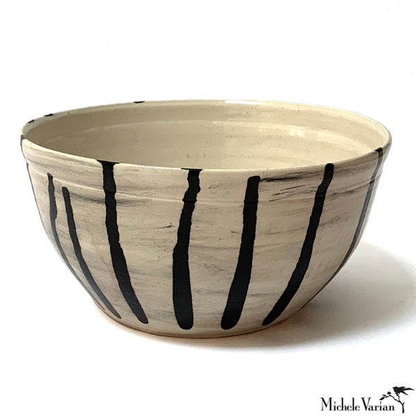 Black Striped Serving Bowl