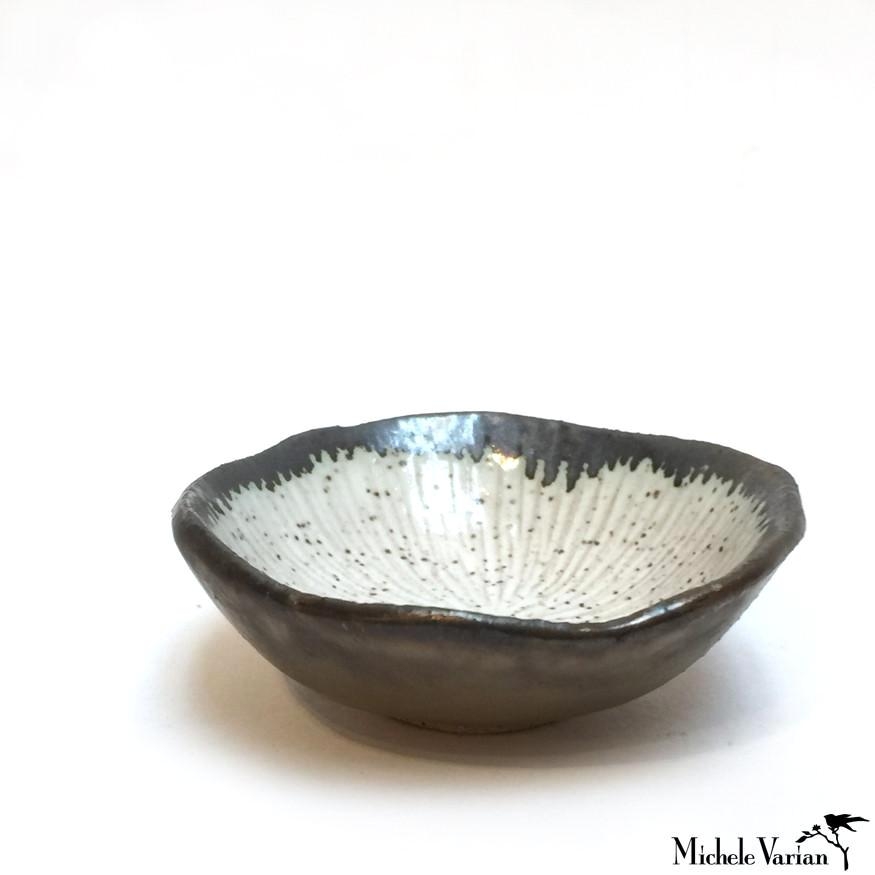 Bronze and White Glaze Tiny Clay Bowl