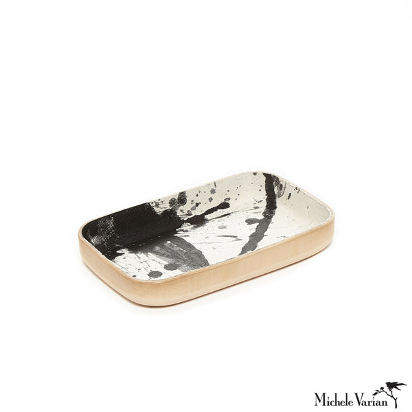 Small Black and White Splattered Denim and Leather Desk Tray