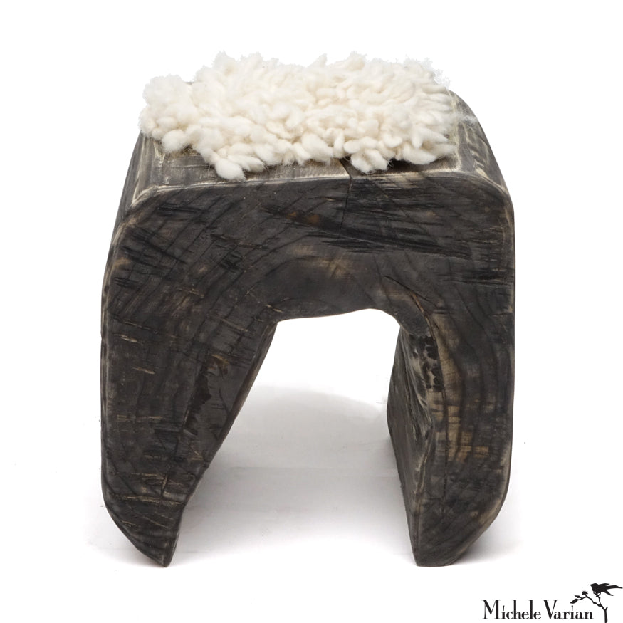 Black Wooden Arch Stool