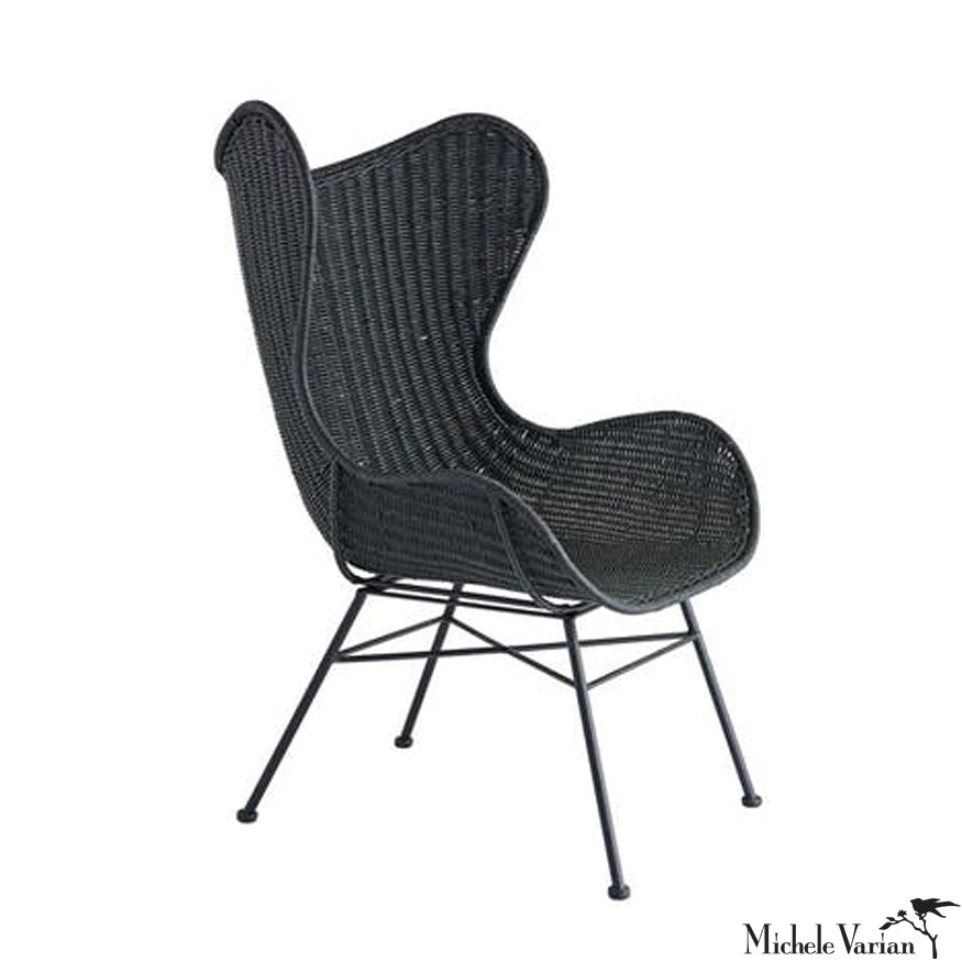 Black Woven Rattan Chair
