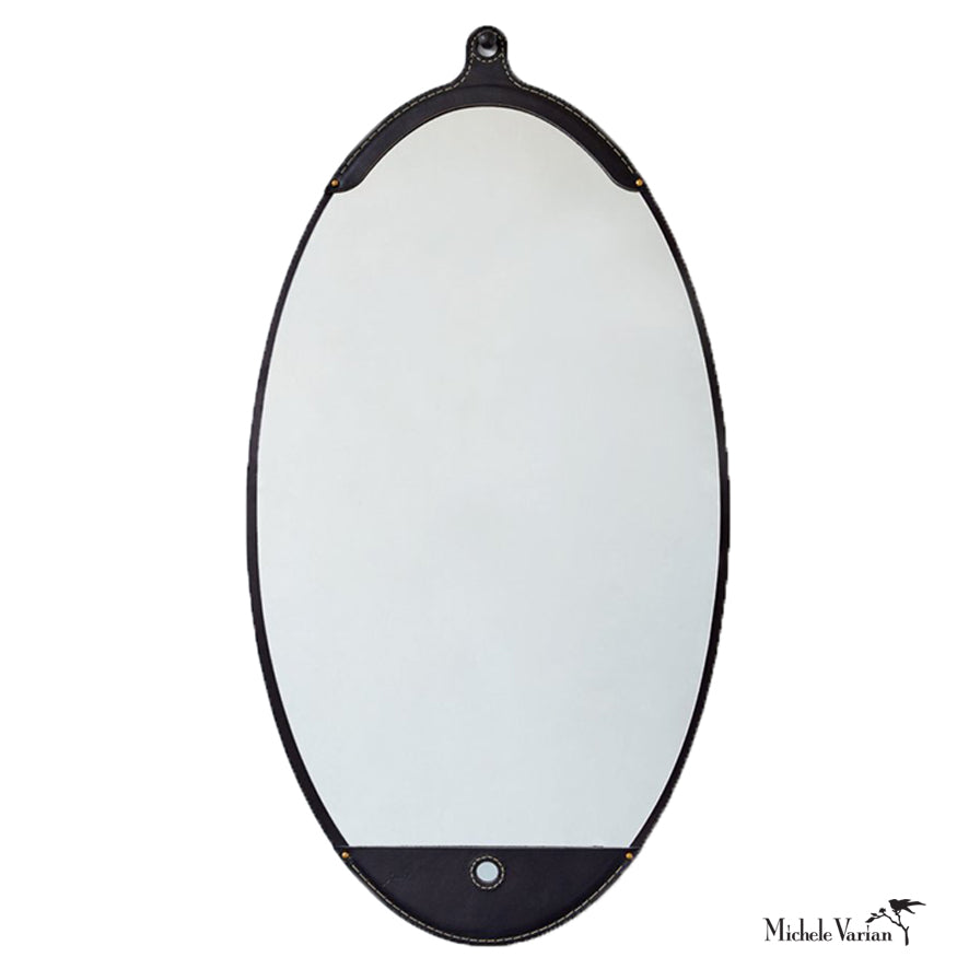 Black Leather Long Oval Mirror