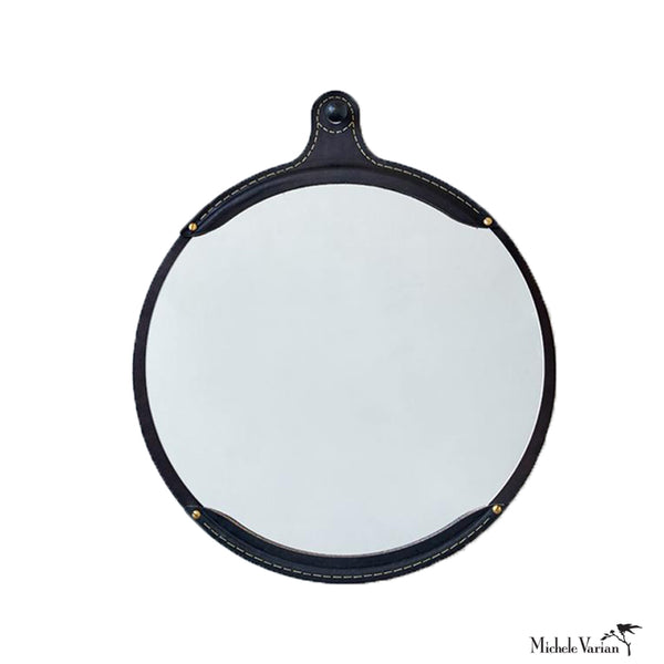 Black Leather Round Mirror