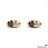 Black And White Diamond Seed Stud Earrings