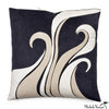 Ultra Suede Applique Pillow Bliss Black 20x20