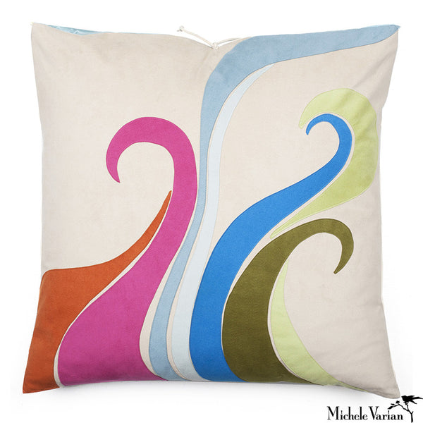 Ultra Suede Applique Pillow Bliss Multi 20x20