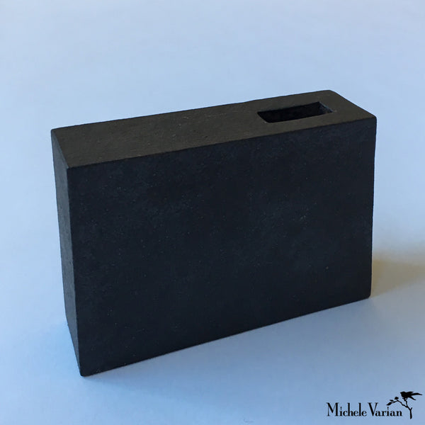 Japanese Black Block With Cut-Out Ceramic Vase