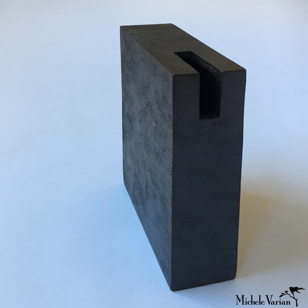 Japanese Block With Slit Black Ceramic Vase