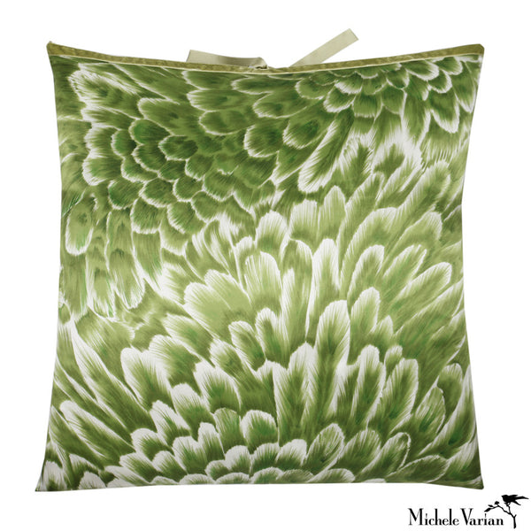 Silk Print Pillow Bloom Green 22x22