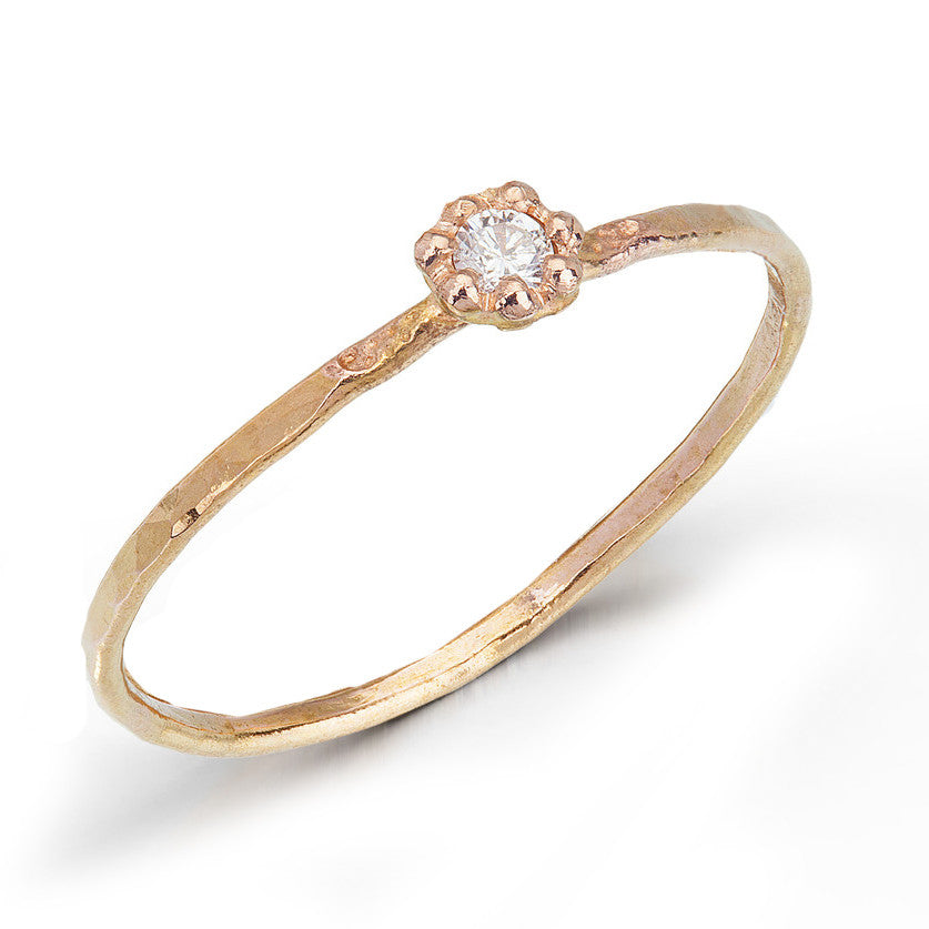 Gold Bloom Diamond Stacking Ring