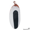 Blot Painted Long Clay Platter with Leather Handle in Black