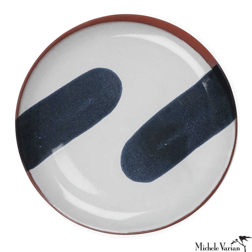 Blot Painted Clay Black and White Large Plate