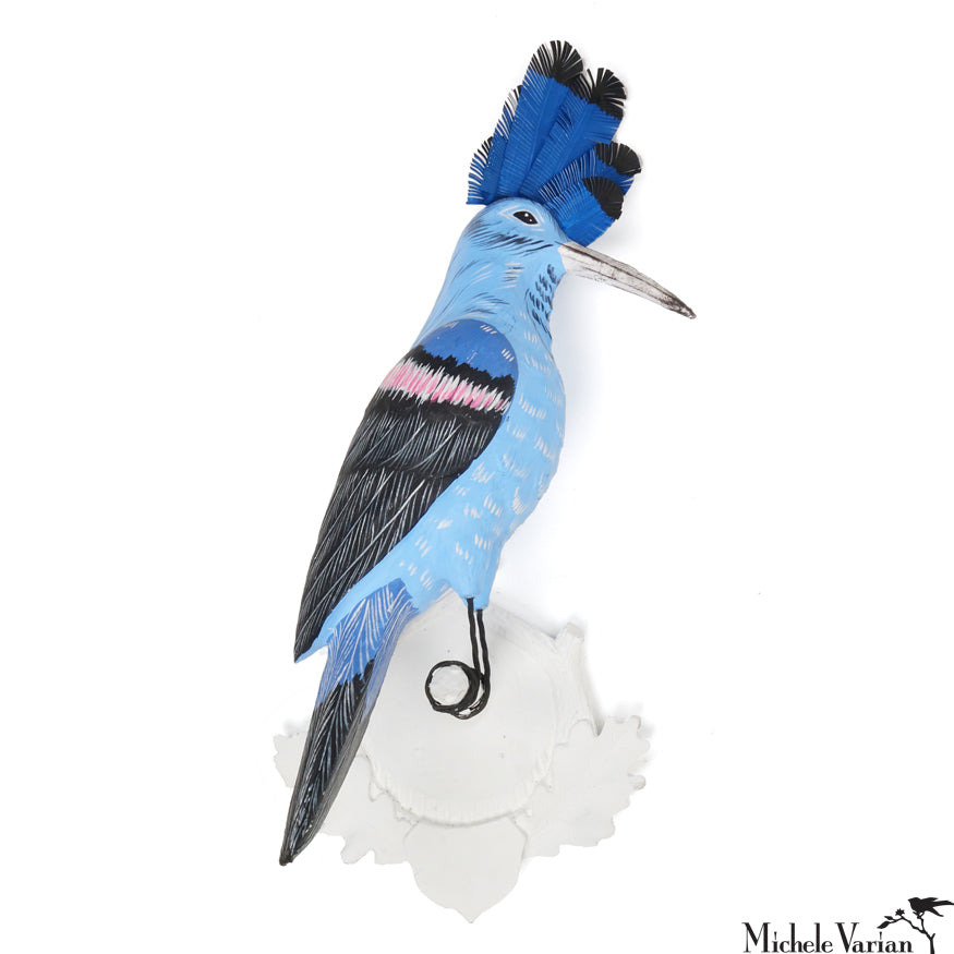 Hoopoe Blue Bird Papier Maché Wall Mount