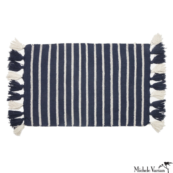 Navy and White Stripe Tassel Rug or Bathmat
