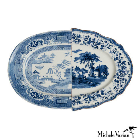 Juxtaposed Vassoio Porcelain Serving Plate
