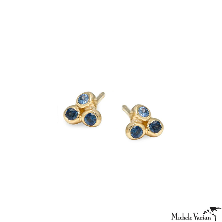 Blue Sapphire Trio Anemone Gold Stud Earrings