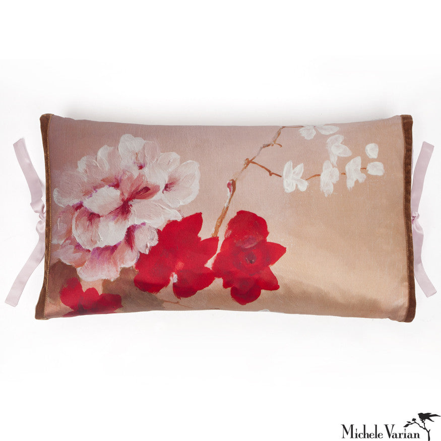 Silk Print Pillow Blush Rose 12x22