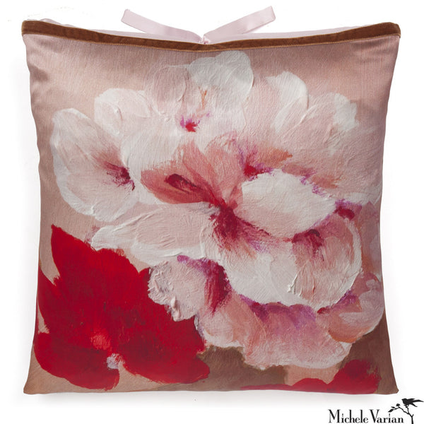 Silk Print Pillow Blush Rose  20x20