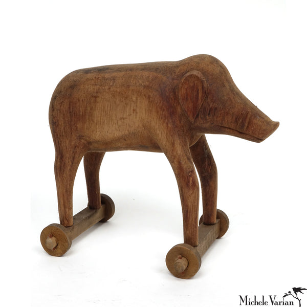 Hand Carved Wooden Boar