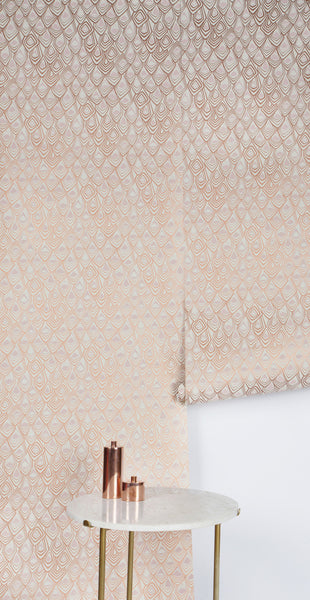Boho Diamond Wallpaper in Metallic Copper and Blush Pink