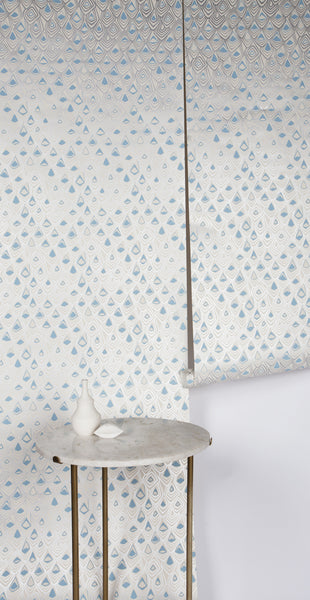Boho Diamond Wallpaper in Metallic Silver and Fairy Blue on Off-White
