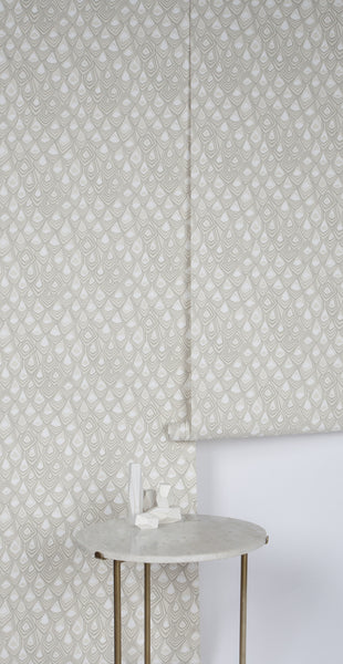 Boho Diamond Wallpaper in Snow and Stone