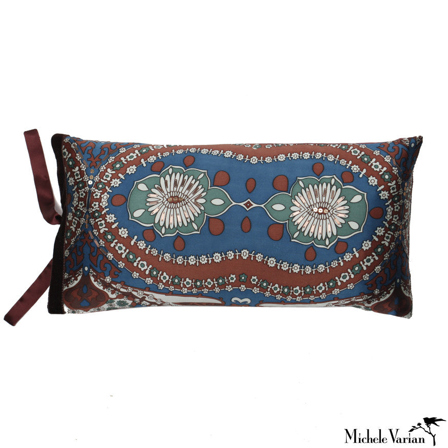 Silk Print Pillow Boho Peacock  8x16