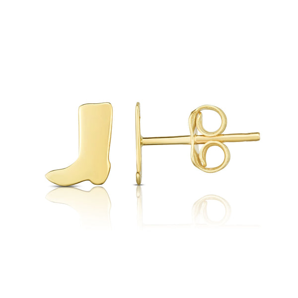Gold Boot Stud Earrings